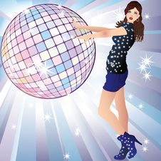 Free Girl And A Disco Ball. Stock Image - 17757181