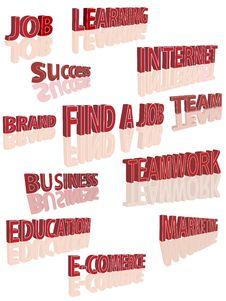 Set Of 3d Words Stock Photos