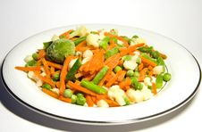 The Frozen Vegetables On A Plate Stock Photography