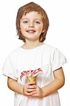 Little Girl Holding Lilly Flower