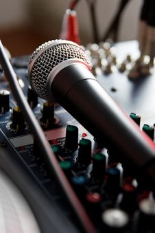 Free Vocal Microphone On Sound Mixer Royalty Free Stock Image - 17758206