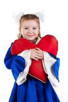Free Beautiful Girl With Heart Shaped Red Pillow Royalty Free Stock Photo - 17758415