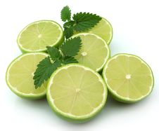 Free Lobes Of A Lime With A Mint Royalty Free Stock Photos - 17759718