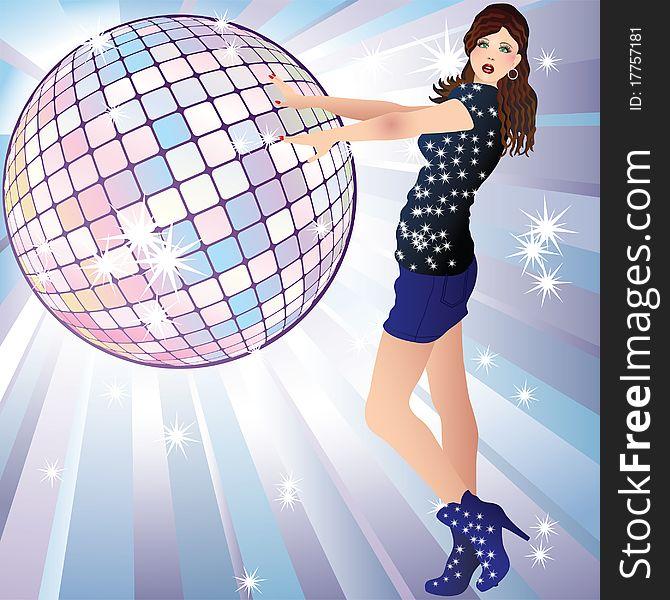 Girl and a disco ball.