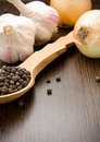 Free Garlic, Onion And Black Pepper On Spoon Stock Images - 17760304