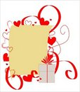 Free Sheet Of Paper Framed With Red Hearts And Ribbons Royalty Free Stock Images - 17761269
