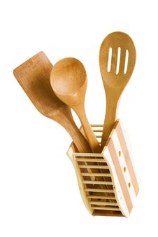 Free Set Of Kitchen Utensils Made Of Bamboo, Isolated Royalty Free Stock Photo - 17760465