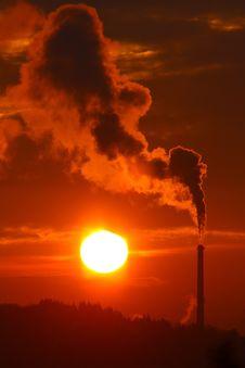 Free Sunrise And Smokestack Stock Image - 17763011