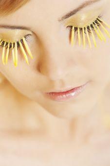 Free Woman Wearing Petal Eyelashes Royalty Free Stock Photo - 17763335