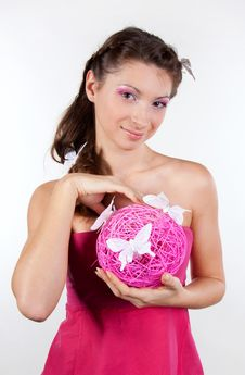 Beautiful Young Woman With Pink Sphere In Hands Royalty Free Stock Photos