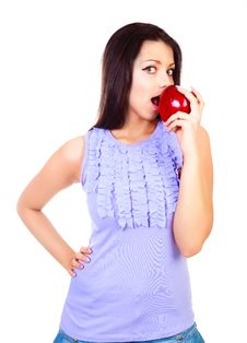 Free Girl With An Apple Royalty Free Stock Images - 17764729