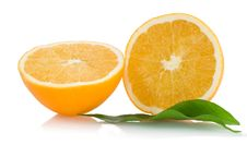 Free Two Halfs Of Cropped Orange Withleaves Stock Photos - 17764803