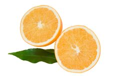 Free Cropped Orange With Green Leaves Royalty Free Stock Photo - 17764815