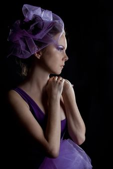 Free Beautiful Young Woman In Violet Hat Royalty Free Stock Photo - 17765015