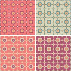 Free Seamless Patterns With Hearts And Flowers Royalty Free Stock Image - 17765196