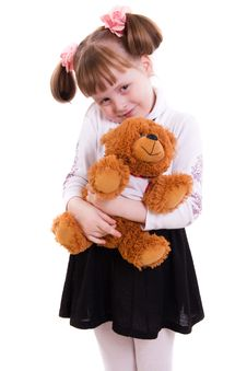 Free Girl With Toy Bear Stock Photography - 17765222
