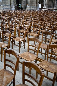 Free Wood Chairs In Catholic Cathedral Royalty Free Stock Photography - 17765337