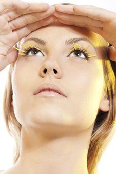 Free Woman Wearing Petal Eyelashes Royalty Free Stock Images - 17765529