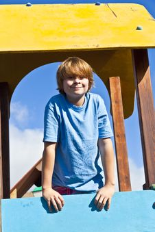 Portrait Of Happy Teenager At A Playground Stock Image
