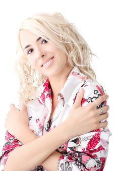 Free Blond Model Wearing A Color Shirt Royalty Free Stock Photography - 17766467