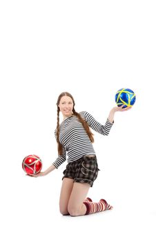 Free Girl With Baloons Royalty Free Stock Photo - 17766495