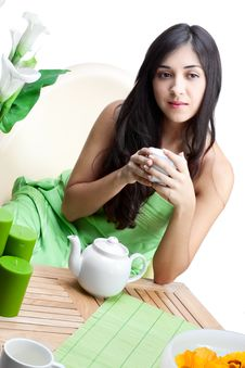 Free Beautiful Woman  In Cafe Stock Images - 17766514