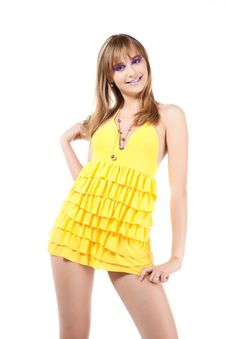 Free Brunette In Yellow Stock Images - 17767144