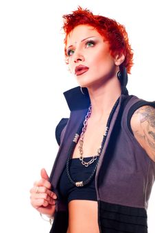 Free Punky Red-haired Tattooed Young Woman Stock Images - 17768154