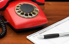Free Red Phone On A Wooden Table Royalty Free Stock Photo - 17769545