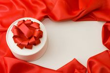 Free Box With A Gift On A Red Fabric Stock Photos - 17769973
