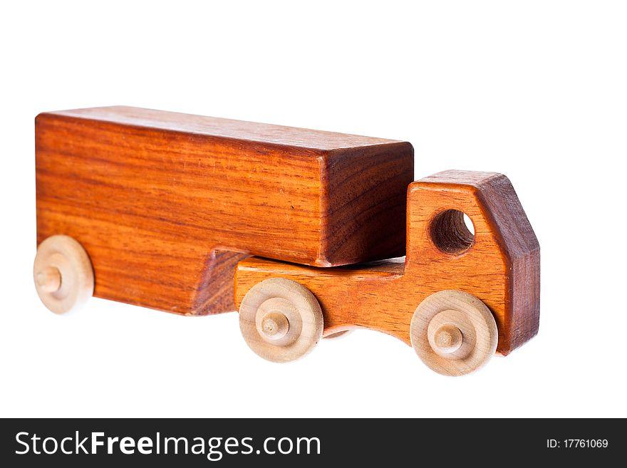 A funky retro wooden truck or semi-trailer