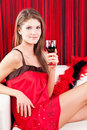 Free Beauty Girl With A Glass Of Red Wine Stock Image - 17770801