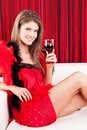 Free Beauty Girl With A Glass Of Red Wine Stock Photo - 17770810