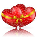 Free Two Red Hearts With Golden Bow And Ribbon Royalty Free Stock Photos - 17774238