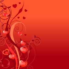 Free Background With Stylixed Plants And Hearts Royalty Free Stock Image - 17770206