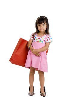 Little Shopaholic Girl Stock Image