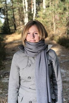 Woman On A Walk In The Forest Royalty Free Stock Photo