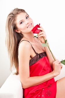 Beauty Girl With Red Rose Royalty Free Stock Photo