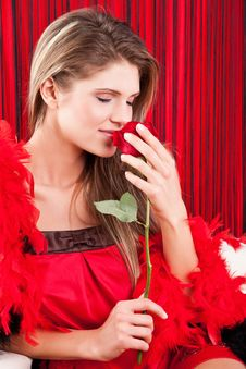 Beauty Girl With Red Rose Royalty Free Stock Images