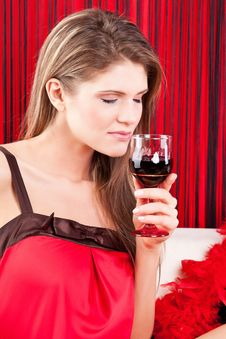Free Beauty Girl With A Glass Of Red Wine Stock Photos - 17770783