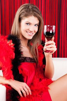 Free Beauty Girl With A Glass Of Red Wine Royalty Free Stock Photography - 17770827