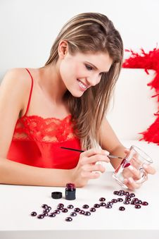 Beauty Girl Making Valentine S Surprise Royalty Free Stock Images