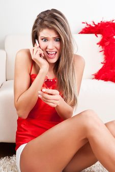Free Beauty Girl With Mobile Phone And Lollipop Royalty Free Stock Photos - 17770878
