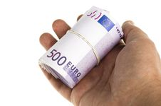 Free Roll Of 500 Euro In Hand Isolated Stock Photo - 17771020
