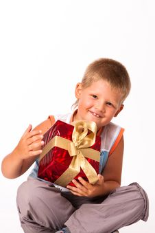 Free Little Boy With A Gift Stock Photography - 17771942