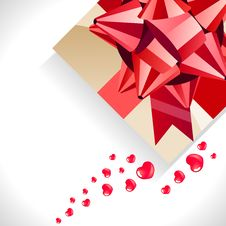Gift Box With Big Red Bow Stock Photos