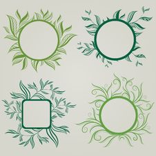 Free Vector Set Of Leafs Frames Royalty Free Stock Image - 17772496