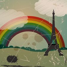 Free Grunge Eiffel Tower And Rainbow Royalty Free Stock Image - 17772786