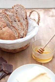 Fresh Bread And Honey Royalty Free Stock Photography