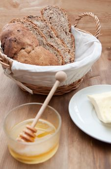 Fresh Bread And Honey Royalty Free Stock Images